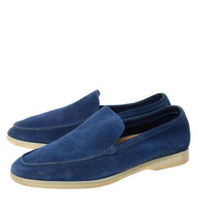 Loro Piana Blue Suede Slip On Loafers Size 45 293791 - 3