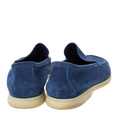 Loro Piana Blue Suede Slip On Loafers Size 45 293791 - 4