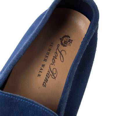 Loro Piana Blue Suede Slip On Loafers Size 45 293791 - 6