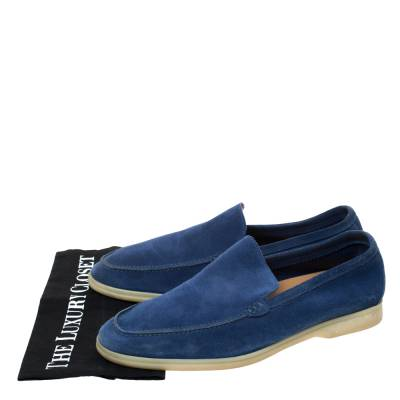 Loro Piana Blue Suede Slip On Loafers Size 45 293791 - 7