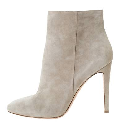 Gianvito Rossi Grey Suede Round Toe Ankle Boots Size 40.5 293792 - 1