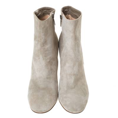 Gianvito Rossi Grey Suede Round Toe Ankle Boots Size 40.5 293792 - 2