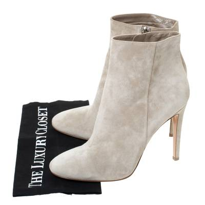 Gianvito Rossi Grey Suede Round Toe Ankle Boots Size 40.5 293792 - 7