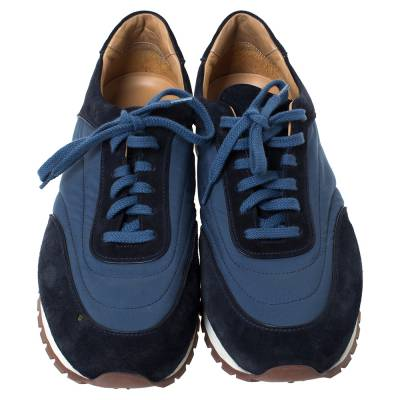 Loro Piana Blue Suede And Nylon Low Top Sneakers Size 44 294272 - 2