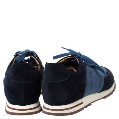 Loro Piana Blue Suede And Nylon Low Top Sneakers Size 44 294272 - 4