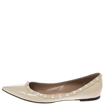 Valentino Offwhite Patent Leather Rockstud Pointed Toe Ballet Flats Size 40.5 293770 - 1