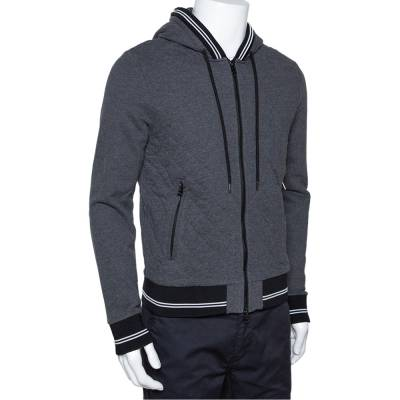Moncler Grey Diamond Quilted Cotton Zip Front Hoodie L 294275 - 1