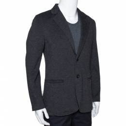 Armani Collezioni Grey Twill Two Buttoned Jacket M 294278