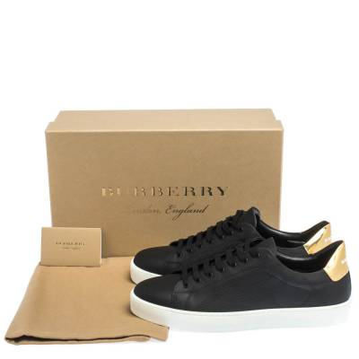 Burberry Black Perforated Check Leather Westford Low Top Sneakers Size 41 294616 - 7