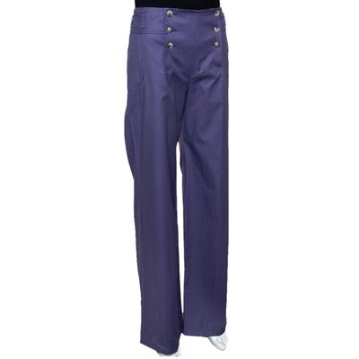 Kenzo Purple Cotton Wide Leg Trousers M 294617 - 1