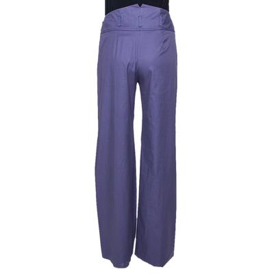 Kenzo Purple Cotton Wide Leg Trousers M 294617 - 2