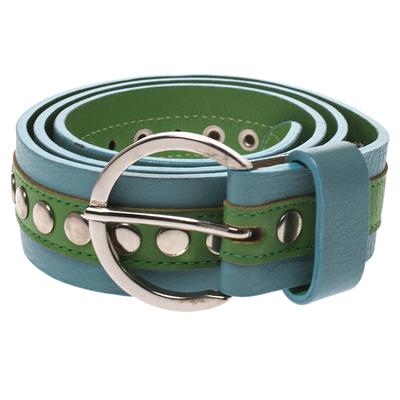 Dolce&Gabbana Green/Blue Leather Riveted Belt 80CM 294346 - 1