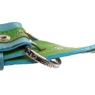 Dolce&Gabbana Green/Blue Leather Riveted Belt 80CM 294346 - 4