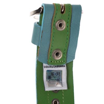 Dolce&Gabbana Green/Blue Leather Riveted Belt 80CM 294346 - 5