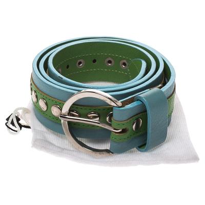 Dolce&Gabbana Green/Blue Leather Riveted Belt 80CM 294346 - 6