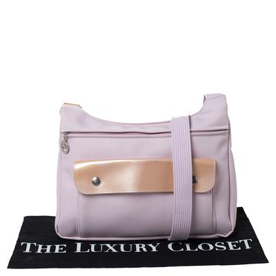 Longchamp Pink Nylon and Patent Leather Planetes Messenger Bag 294344 - 8