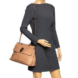 Gucci Tan Leather Medium Bamboo Daily Top Handle Bag 294345