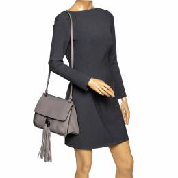Gucci Grey Leather Bamboo Daily Tassel Shoulder Bag 294091