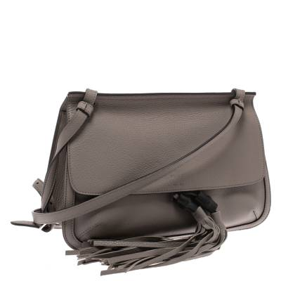 Gucci Grey Leather Bamboo Daily Tassel Shoulder Bag 294091 - 2