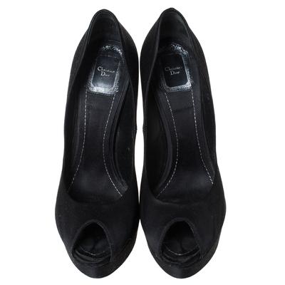 Dior Black Satin Peep Toe Cannage Heel Platform Pumps Size 39 294309 - 2