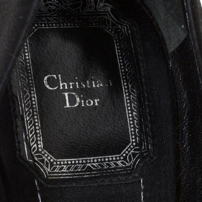 Dior Black Satin Peep Toe Cannage Heel Platform Pumps Size 39 294309 - 6