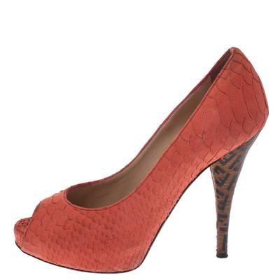 Fendi Orange Python Embossed Leather Peep Toe Platform Pumps Size 36.5 294303 - 1
