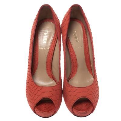 Fendi Orange Python Embossed Leather Peep Toe Platform Pumps Size 36.5 294303 - 2