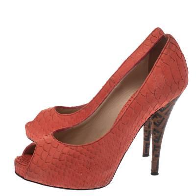 Fendi Orange Python Embossed Leather Peep Toe Platform Pumps Size 36.5 294303 - 3