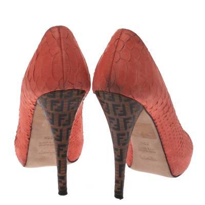Fendi Orange Python Embossed Leather Peep Toe Platform Pumps Size 36.5 294303 - 4