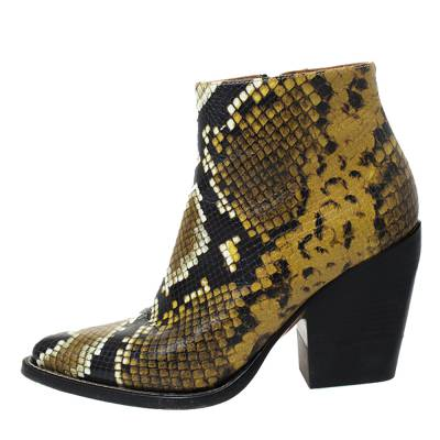 Chloe Multicolor Snake Print Leather Ankle Boots Size 38 294301 - 1