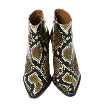 Chloe Multicolor Snake Print Leather Ankle Boots Size 38 294301 - 2