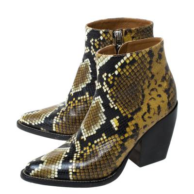 Chloe Multicolor Snake Print Leather Ankle Boots Size 38 294301 - 3