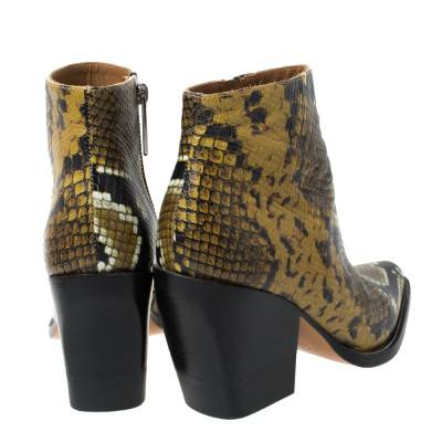 Chloe Multicolor Snake Print Leather Ankle Boots Size 38 294301 - 4