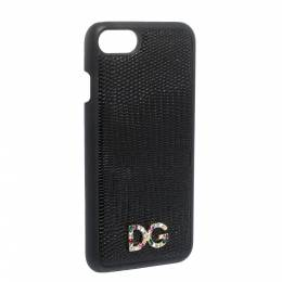 Dolce&Gabbana Black Lizard Embossed Leather Crystal Logo iPhone 7 Cover 291939
