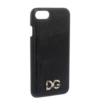 Dolce&Gabbana Black Lizard Embossed Leather Crystal Logo iPhone 7 Cover 291939 - 1