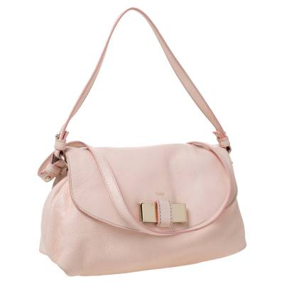 Chloe Light Pink Leather Lily Bow Crossbody Bag 294225 - 2