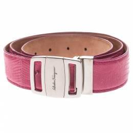 Salvatore Ferragamo Pink Lizard Buckle Belt 105CM 294351
