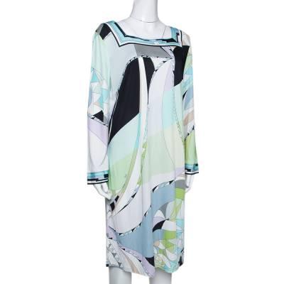 Emilio Pucci Multicolor Printed Jersey Shift Dress XL 292492 - 1