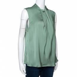 Giorgio Armani Pale Green Silk Draped Sleeveless Blouse XL 292494