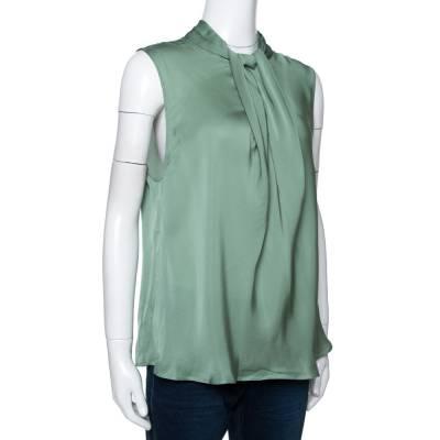 Giorgio Armani Pale Green Silk Draped Sleeveless Blouse XL 292494 - 1