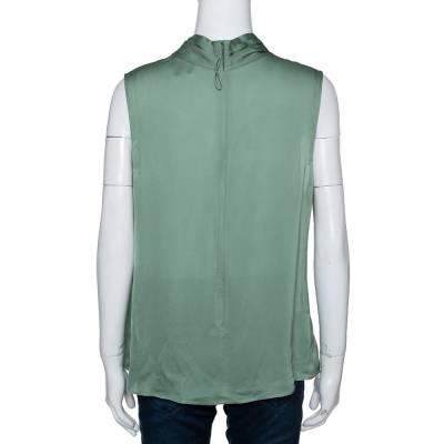 Giorgio Armani Pale Green Silk Draped Sleeveless Blouse XL 292494 - 2