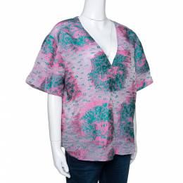 Giorgio Armani Pink Floral Jacquard Silk Blend Oversized Blouse XL 292495
