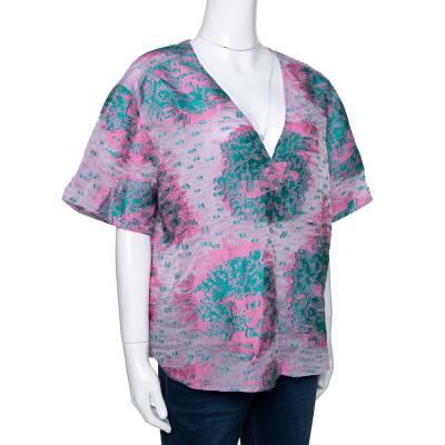 Giorgio Armani Pink Floral Jacquard Silk Blend Oversized Blouse XL 292495 - 1