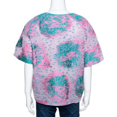 Giorgio Armani Pink Floral Jacquard Silk Blend Oversized Blouse XL 292495 - 2