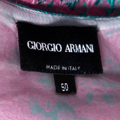 Giorgio Armani Pink Floral Jacquard Silk Blend Oversized Blouse XL 292495 - 4