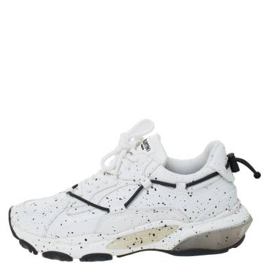 Valentino White/Black Paint Splat Leather Bounce Low-Top Sneakers Size 42 293781 - 1