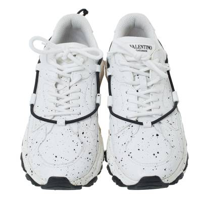 Valentino White/Black Paint Splat Leather Bounce Low-Top Sneakers Size 42 293781 - 2