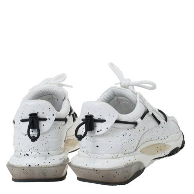 Valentino White/Black Paint Splat Leather Bounce Low-Top Sneakers Size 42 293781 - 4