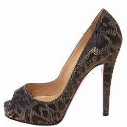 Christian Louboutin Metallic Leopard Print Lame Fabric Very Prive Peep Toe Pumps Size 36 293786