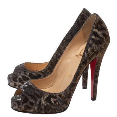Christian Louboutin Metallic Leopard Print Lame Fabric Very Prive Peep Toe Pumps Size 36 293786 - 3